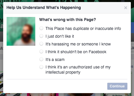Report facebook page options